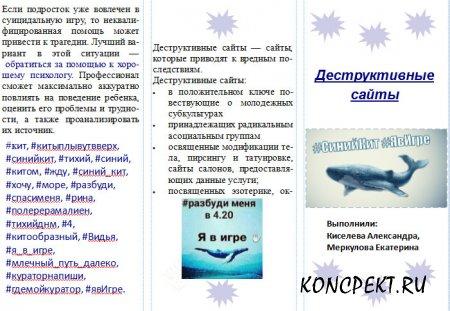 """Буклет по профилактике суицидального поведения """"Деструктивные сайты"""""""