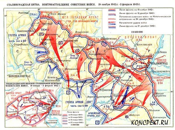 Карта контрнаступления советский войск под Сталинградом