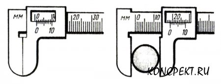 Измерение диаметра штангенциркулем