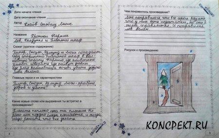 Пример заполнения читательского дневника