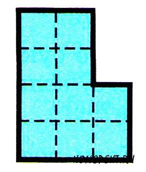 Разрежьте фигуру на две одинаковые и по площади, и по форме части