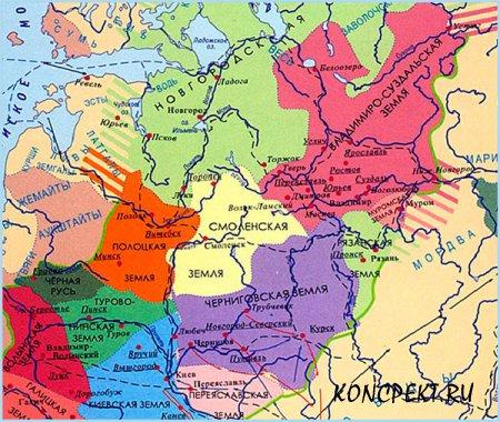 Карта раздробленных княжеств