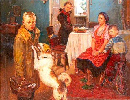 "Картина Ф. Решетникова ""Опять двойка"""
