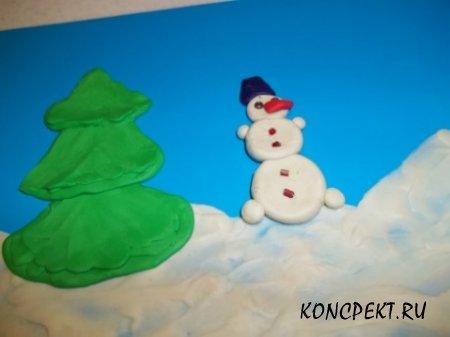 Добавили снеговика на открытку