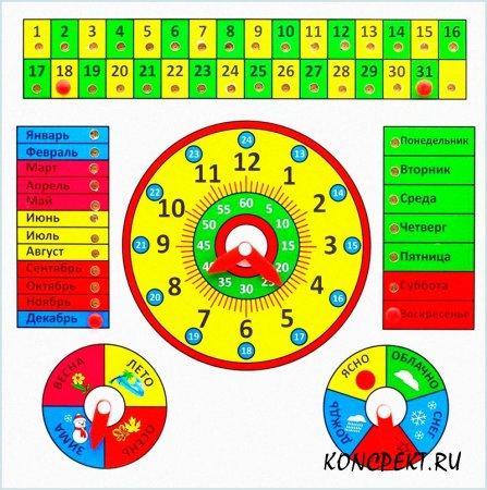 Календарь для изучения названия времен года, месяцев и времени