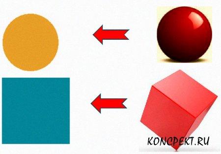 Геометрические фигуры: куб, квадрат, шар