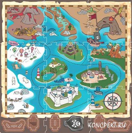 Пиратская карта-пазл