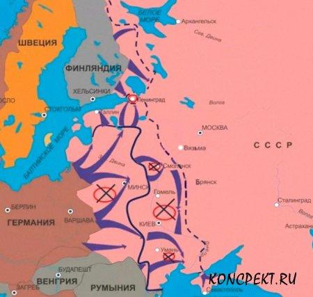 Карта боевых операций начального этапа войны