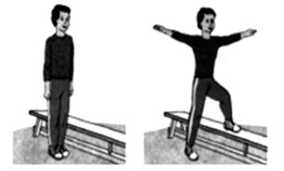 Правая нога на скамейку