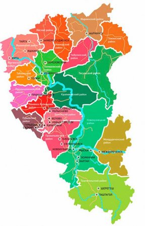 Карта Кузбасса