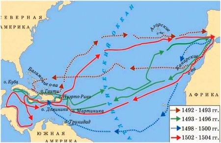 Карта маршрутов путешествий Христофора Колумба