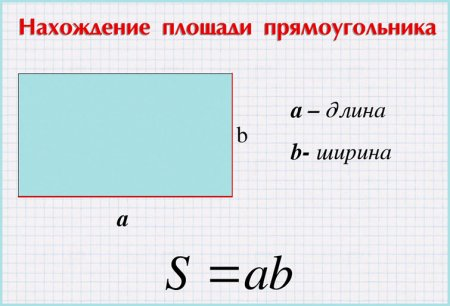 Формула нахождение площади прямоугольника