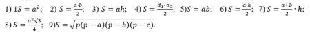 Формулы вычисления площадей
