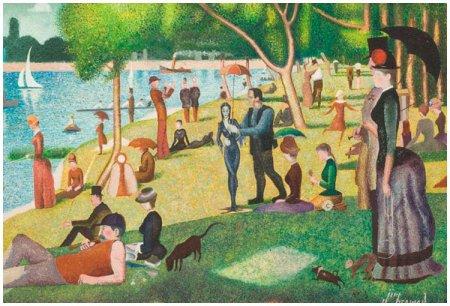 """Картина в технике пуантилизм """"Воскресный день на острове Гранд-Жатт"""""""