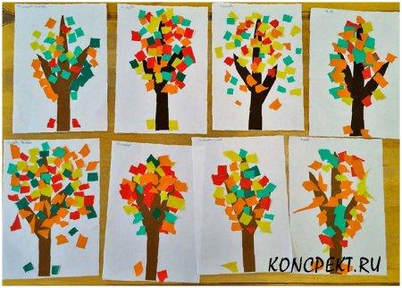 """Аппликации детей """"Осеннее дерево"""""""