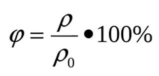 Формула нахождения относительной влажности