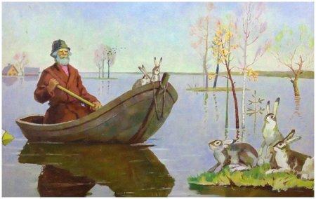 """Иллюстрация к стихотворению Н.А. Некрасова """"Дед Мазай и зайцы"""""""