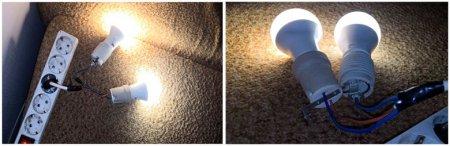 Последовательное и параллельное соединение 2-х ламп накаливания