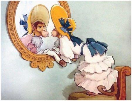 """Иллюстрация к басне А. Крылова """"Зеркало и Обезьяна"""""""