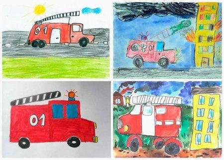 """Рисунки детей """"Пожарная машина"""""""