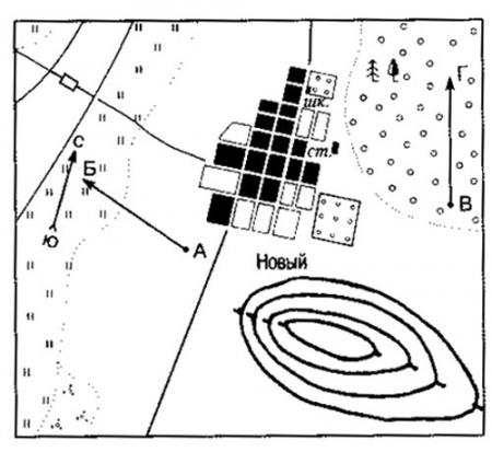 Склон холма на карте