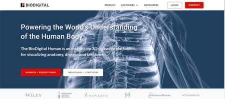 Главная страница сервиса Biodigital
