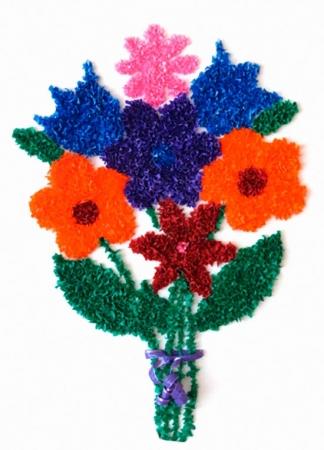"""Пример открытки """"Букет цветов"""", изготовленной в технике """"Торцевание"""