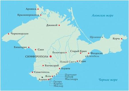 Крымский полуостров на карте