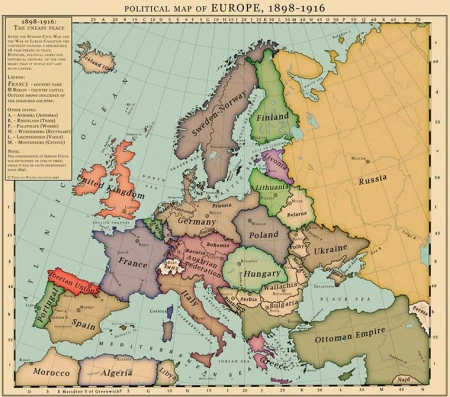 Карта Европы XIX века