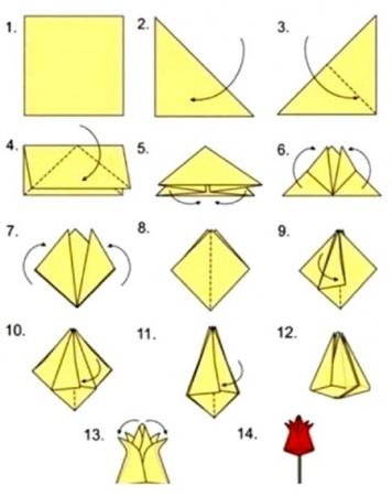 """Инструкция по сборке оригами """"Тюльпан"""""""