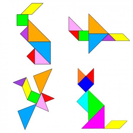 Танграм: заяц, самолет, птица, лиса