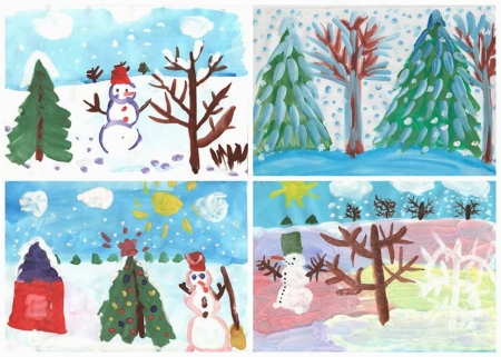 """Рисунки детей на тему """"Зима"""""""