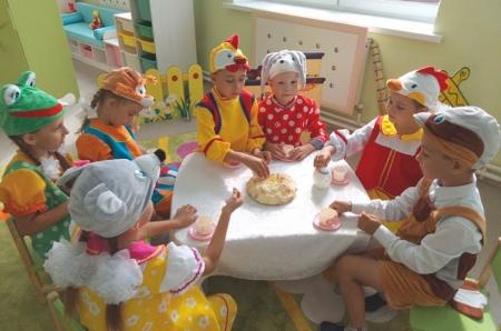 Герои сказки распивают чай с пирогами