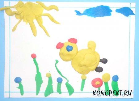"""Методическая разработка НОД по художественно-эстетическому развитию """"Рисование пластилином"""""""